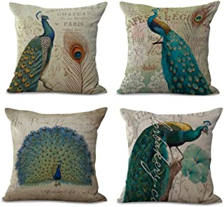 Fengheshun 4Pcs Cotton & Linen Square Mermaid Pillow Covers, Throw Pillows Case Cushion Covers Pillowcase Indoor Decorations 18×18 Inches (45×45cm) (Peacock)