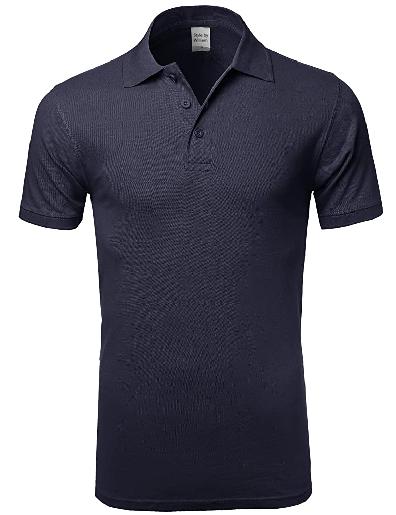 Style by William SBW Men's Basic Solid 3 Buttons Polo Shirts in