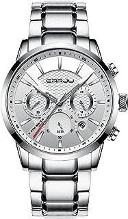 CUENA Men's Waterproof Quartz Watch Fashion Stainless Steel Stopwatch Classic Business Wrist Watch