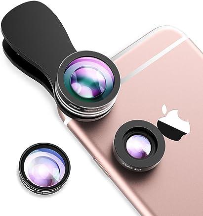 Mpow Obiettivi Smartphone Clip On 3 In 1 Lente Fisheye Lente Fisheye 180° + 0.65X 180 ° Lente Grandangolo+ 10X Lente Macro Lente Cellulare per iPhone/Android