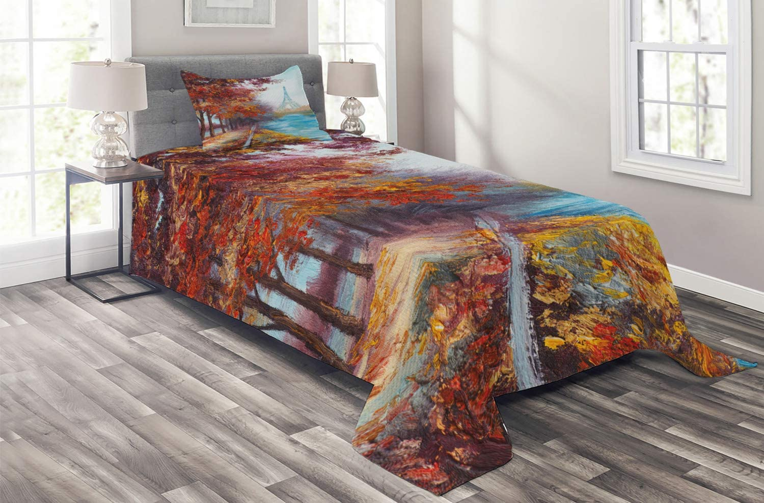 Ambesonne Translated Art Coverlet Eiffel Tower View Au Max 76% OFF River from in Seine