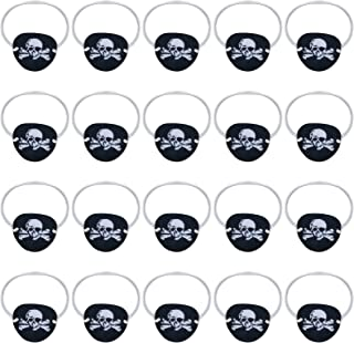 Skylety 20 Pieces Black Felt Pirate Captain Eye Patches Skull Crossbones Eye Patches for Teens and Adults Pirate Theme Par...