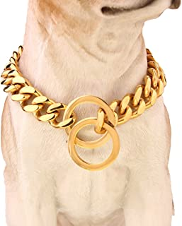 FANS JEWELRY Dogs Plated Gold Stainless Steel Cuban Curb Link Chain Necklace 12