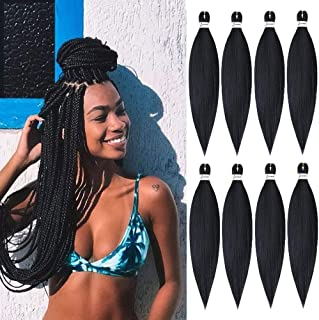 Pre Stretched Braiding Hair,8 Packs/Lot 20 Inch Professional Itch Free Low Temperature Synthetic Fiber Crochet Braids Crochet Hair Braiding Hair Extension Twist Braid 20 inches 8 packs 1B#