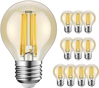 Bombillas LED E27 G45 equivalentes a 40 W, estilo retro vintage ámbar pelota de golf, blanco cálido 2200 K, 360 lm, no regulable, bombillas de ahorro de energía, 10 unidades