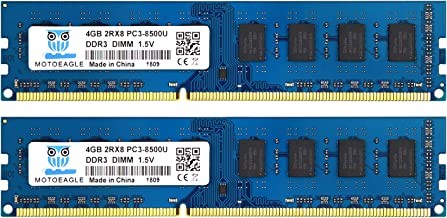 8GB PC3-8500 DDR3 1066 MHz UDIMM, Motoeagle 2Rx8 PC3 8500 Desktop Memory Kit (2x4GB) 1.5V CL7 Dual Rank UDIMM Upgrade Chips
