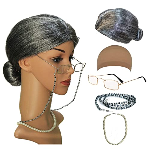 Old Lady Cosplay Set - Grandmother Wig ca427f4d4269