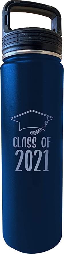 Amazon Com Class Of 2021 Grad Graduation 32 Oz Engraved Black Insulated Double Wall Stainless Steel Water Bottle Tumbler Laser Etched Kitchen Dining