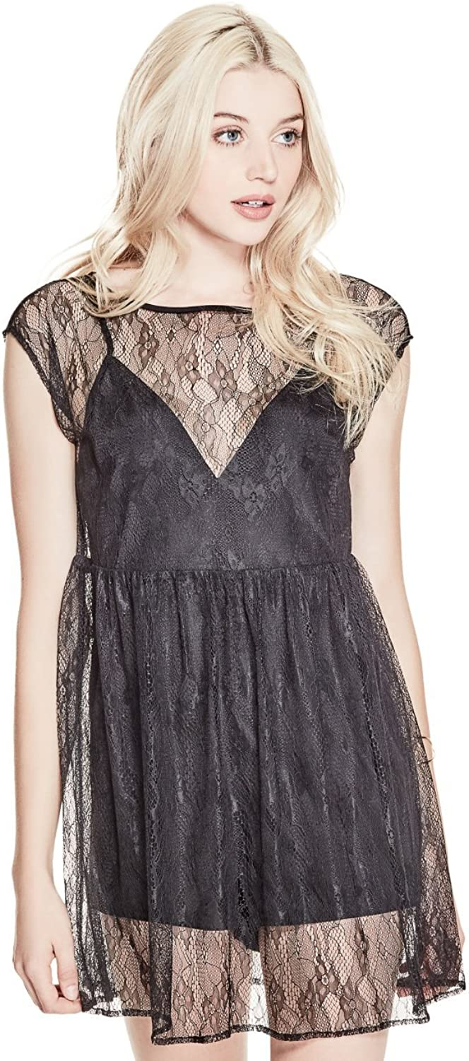 GUESS Women's Hailey Lace Romper Dress