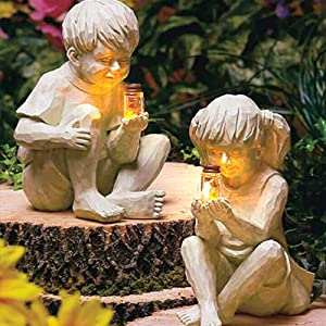 Garden Children Solar Lighted Firefly Jar Light, Decor Kid Glimpses of God with Firefly Statue Yard Statue-Garden Decoration,Boy Girl Decorative Statue for Gardens Outdoor Sculpture Decor for Lawn