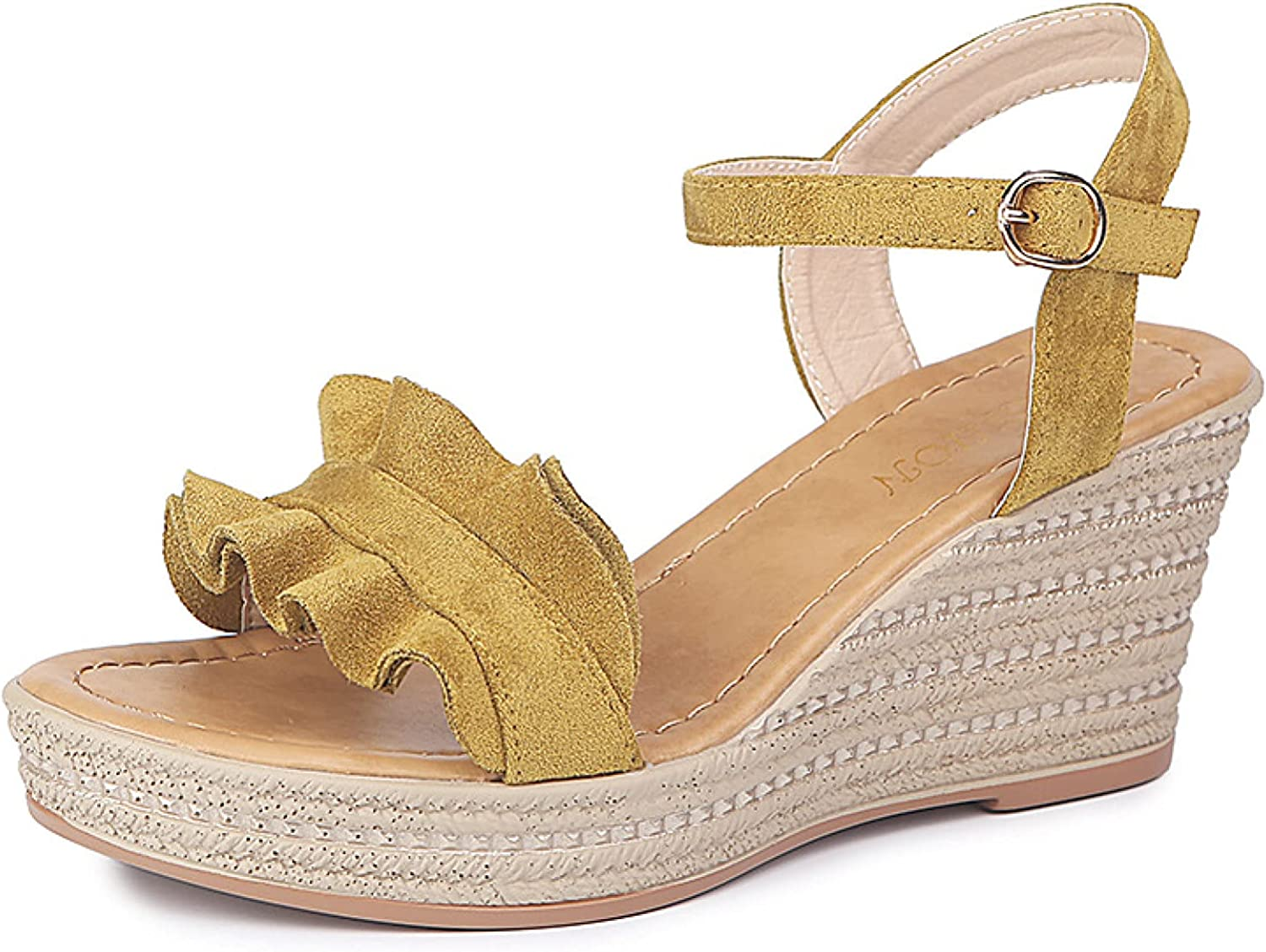 Women's Wedges Ankle Max 81% OFF Buckle Strap Sandals Chunky safety Heel Ru Fashion
