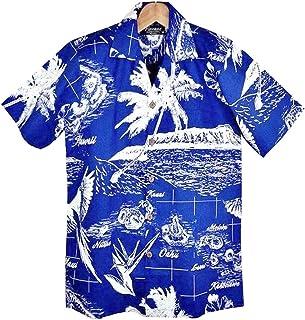 FAVANTメンズアロハシャツ◆HAWAIIAN ISLANDS◆青/白 ハワイ諸島&ダイヤモンドヘッド柄