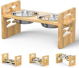 ظرف های مخصوص سگ ، ظرف های مخصوص حیوانات خانگی با جایگاه مخصوص سگ و گربه ظرف های مخصوص تغذیه بامبو قابل تنظیم با 2 عدد کاسه آب و غذای سگ مخصوص استیل و گربه برای گربه و کوچک
