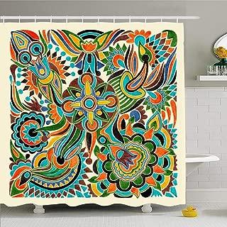 Ahawoso Shower Curtain Set with Hooks 60x72 Pattern Hand Draw Embellishment Marker Artwork Folk Whimsical Flower Design Doodle Textures Tribal Waterproof Polyester Fabric Bath Decor for Bathroom