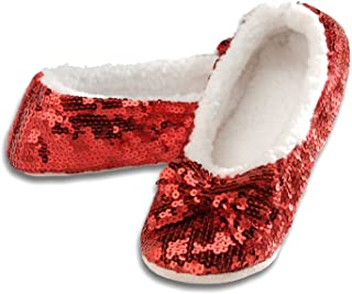 Ballerina Bling Metallic Shine Women Slippers | Sequin House Slippers for Women | Slipper Socks with Grippers for Women | Cute Slippers for Women | Multiple Colors and Sizes