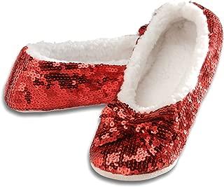 Snoozies Ballerina Bling Metallic Shine Women Slippers | Sequin House Slippers for Women | Slipper Socks with Grippers for Women | Cute Slippers for Women | Multiple Colors and Sizes