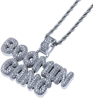 GUCY Hip Hop Jewelry Iced Out Bubble BOOMIN Gang Letter Pendant Necklace Rope Chain(Gold/Silver)