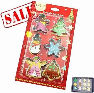 Juego de 6 cortadores de galletas de acero inoxidable para niños, ángel, árbol, sonajero, copo de nieve, muñeco de nieve, hombre de jengibre, molde de galletas de Navidad