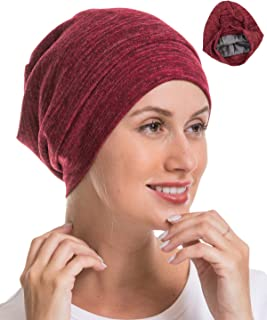 Genovega 1 or 2 Packs Slouchy Beanie Sleep Cap, Satin Silk Lined, Lightweight, Cozy, Soft for Natural Hair