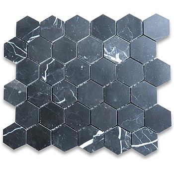 Black Marble Tiles JOB-LOT Nero Marquina 305x305mm Natural Stone Wall Floor