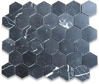 Nero Marquina Black Marble Hexagon Mosaic Tile 2 inch Polished