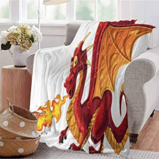 Luoiaax Dragon Rugged or Durable Camping Blanket Funny Fire Spitting Winged Cartoon Mascot Playroom Childish Princess Illustration Warm and Washable W70 x L70 Inch Orange Red