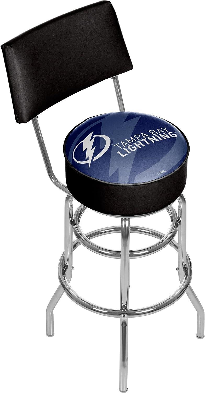 Trademark Gameroom NHL1100TBLWM NHL Swivel bar Stool with Back  Watermark  Tampa Bay Lightninga