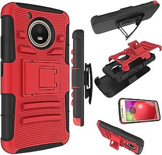 Moto E4 Case, Zoeirc [Heavy Duty] Armor Shock Proof Dual Layer Phone Case Cover with Kickstand & Belt Clip Holster for Motorola Moto E4 / Moto E (4th Generation) (red)