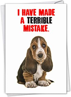 NobleWorks - Terrible Mistake - Adorable Puppy Apology, Sincere Sorry Card with Envelope C7220SRG