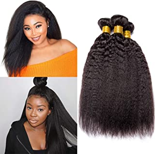 Kinky Straight Human Hair Bundles Brazilian Yaki Straight Hair 3 Bundles Unprocessed Virgin Human Hair Weave Remy Hair Extensions Double Hair Weft Wholesale Natural Color(14 16 18 Inch)