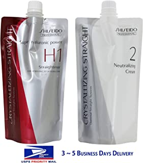 (USA Shipping) Hair Rebonding Shiseido Professional Crystallizing Hair Straightener (H1) + Neutralizing Cream (2) for Resistant to Natural Hair 400g+400g by shiseido Via USPS USA Shipping