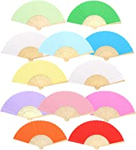 Weahre 12 pcs Decorative Folding Fans Hand Held Fans Paper Handheld Folded Chinese Fans for DIY, Wall Decoration, Church,Wedding,Gift, Party Favors (12 Colors)