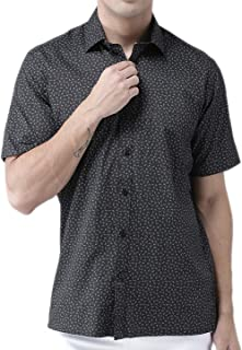 Zeal Mens Half Sleeve Cotton Printed Shirt Black and Grey