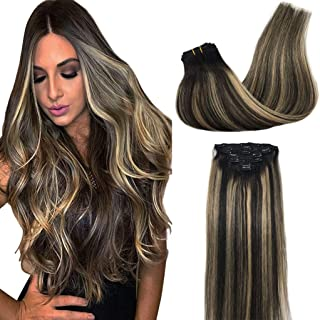 Googoo Human Hair Extensions Clip in Balayage Natural Black to Dirty Ash Blonde Remy Hair Extensions Clip in Natural Hair Extensions Silky Straight Real Hair 16 inch 7pcs 120g