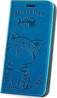 Galaxy A5 2018 fodral, JAWSEU Galaxy A8 2018 plånboksfodral i PU-läder, kattmönster fram och baksida bokstil magnetiska ko...