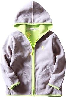 ZETA DIKES Kids Polar Fleece Jacket Hooded Cartoon Pattern Coat Zip Outerwear 3-8T