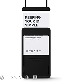 ID FRAME ID Card Holder, Simple & Minimal, Free to Tag, Badge Holder (Matt Black)