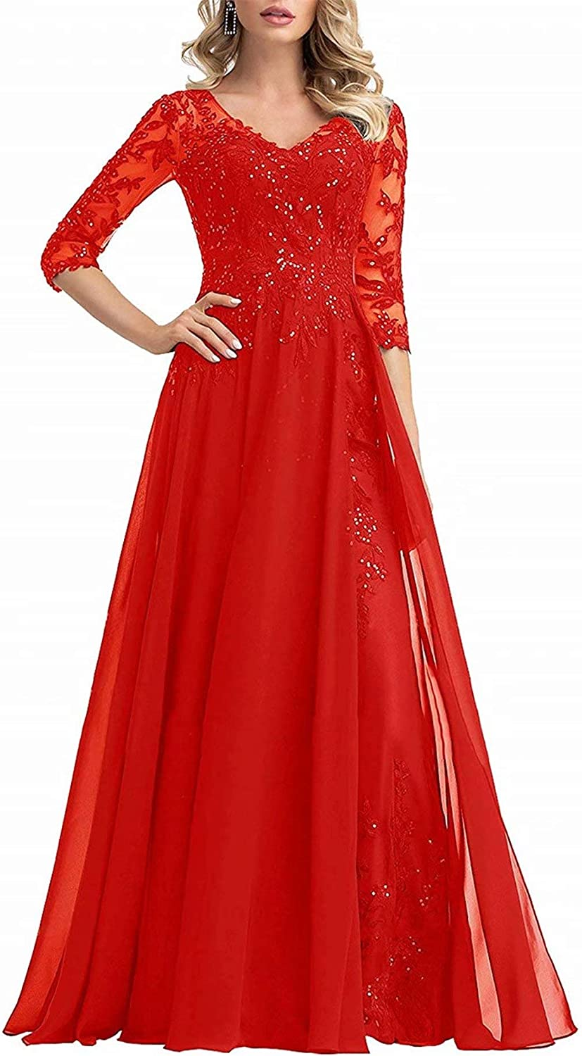 Women's Mother of The Bride Dresses 3/4 Sleeves Formal Evening Gowns Lace Applique Beading Sequins