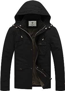 Men's Cotton Military Coat Casual Windbreaker Hooded Trucker Jacket