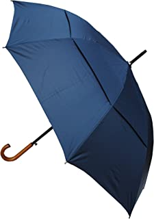 COLLAR AND CUFFS LONDON - Windproof EXTRA STRONG - StormDefender City Umbrella - Vented Canopy - HIGHLY ENGINEERED TO COMBAT INVERSION DAMAGE - Auto Open - Solid Wood Hook Handle - Navy Blue