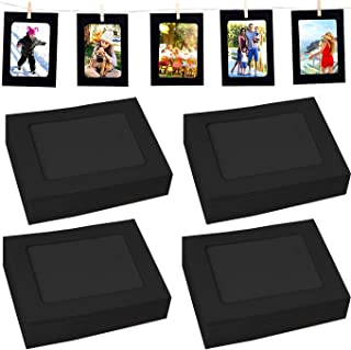 Perfect 4U 40PACK Paper Photo Frames Black Paper Photo Flim DIY Wall Picture Hanging Frame Album+Rope+Clips Set DIY Wall D...