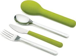 Joseph Joseph GoEat Recipiente compacto 2-en-1para alimentos, Set de cubiertos, Verde