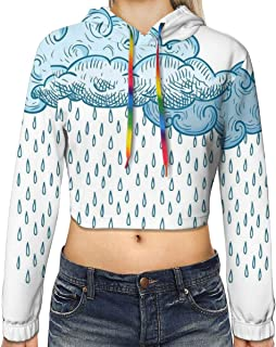 Women`s Cropped Hoodie,Funk Style Cute Cloud Forms Made with Spiral Lines Twister Cyclone Drawing Print,S-XL