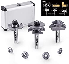 TACKLIFE 1/2 Inch Shank Router Bit Set,Tongue and Groove Router Bits &Lock Miter Router Bit with 45-Degree, 4Pcs Bearings Set,Professional Choice For Home Improvement -RB31C