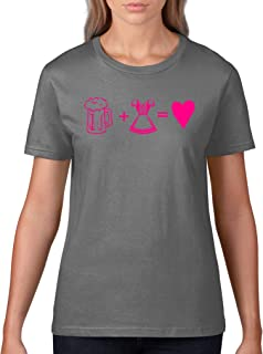 Comedy Shirts Bier  Dirndl = Herz - Damen T-Shirt - Rundhals, 100% Baumwolle, Kurzarm Top Basic Print-Shirt