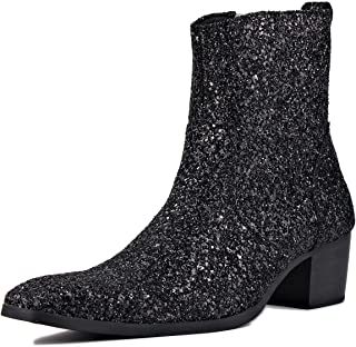 Suetar Mens Fashion Glitter Leather 5 cm High Heel Chukka Boots JY023