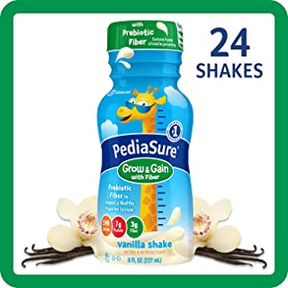 PediaSure Grow & Gain with Fiber, Kids' Nutritional Shake, with Protein, DHA, and Vitamins & Minerals, Vanilla, 8 fl oz, 24-Count