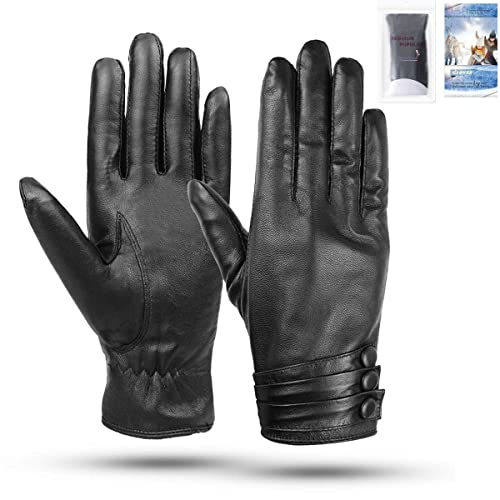 dd006690ed363 Womens Leather Gloves - Womens Touchscreen Gloves, Ladies Genuine Leather  Gloves Black Mittens, Soft