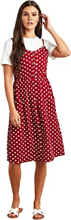 Polka Dot Printed Shirred Midi Women's Dress