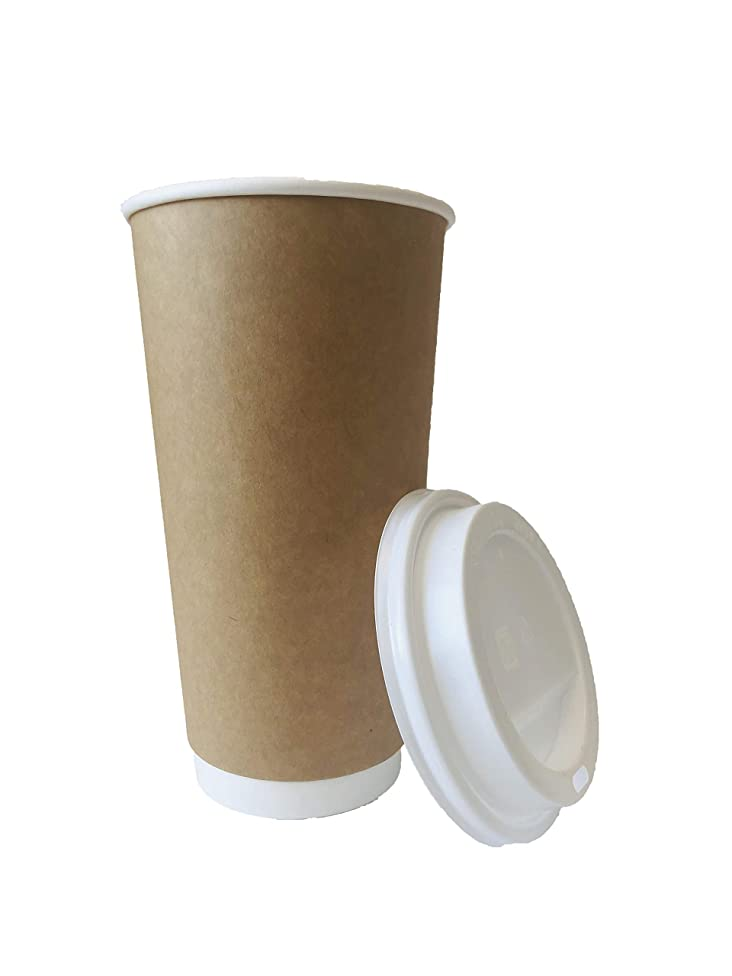 Earth's Natural Alternative Double Wall Kraft Paper Coffee Cup + Lid, 20 oz, Tan, 50 Count